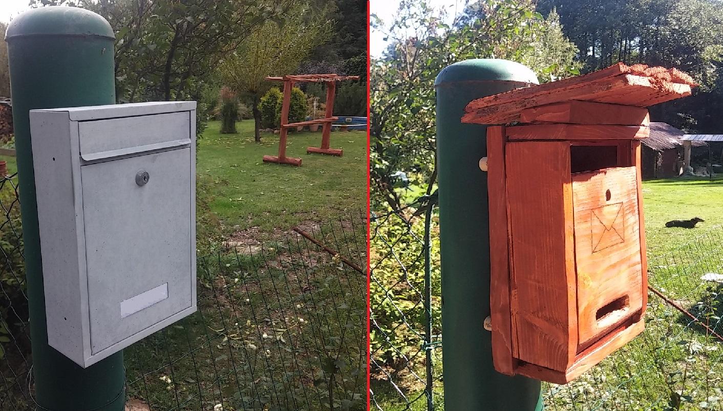 úprava starej plechovej poštovej schránky - pred a po